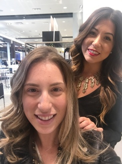 Getting my hair styled at the Drybar station